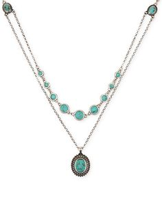 Lucky Brand Silver-Tone Layered Chain and Turquoise Accent Necklace | macys.com