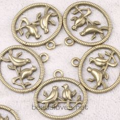 6pcs Bird Vintage Style Antique Brass Jewelry by findingswholesale, $1.99