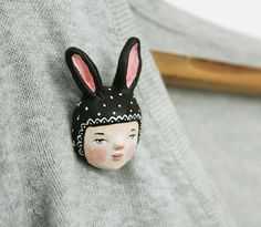 Black bunny girl - Woodland creature pin brooch - Paper clay wearable art