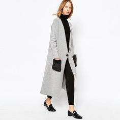 Women Extra Long Knitted Cardigan Grey