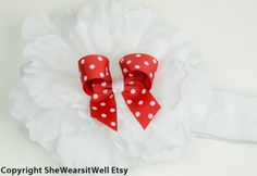 Huge Christmas Flower Hair Bow With Headband by SheWearsitWell, $14.00