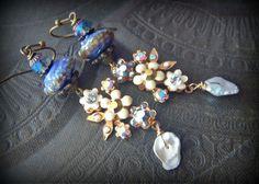 Vintage, Flower Earrings, Cottage Chic, Sorrelli, Pearls, Lampwork Glass, Austrian Crystal, Earthy, Organic, Rustic, Beaded Earrings by YuccaBloom on Etsy
