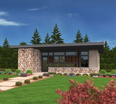 """This modern house plan design gives you """"big"""" living in a small space and not a square foot is wasted in this elegant and affordable home design. The media wall in the great room holds all your stuff and a huge monitor as well. There is enough room for two gathering spaces OR a large dining room table. The kitchen itself has more then enough storage, utility and a built-in eating bar. The master bedroom is outfitted with built-in storage, closets and cabinets as well as a king sized..."""