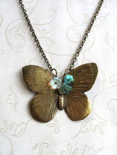 Long Butterfly Necklace brass nature jewelry