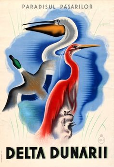 Danube Delta ONT Romania, 1930s - original vintage poster by P Grant listed on AntikBar.co.uk                                                                                                                                                                                 More
