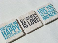 Tile Magnet Set  You Make Me Happy When Skies Are Grey by delightfuldaisy