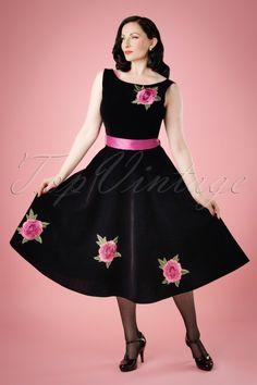 Collectif Clothing ~ Ava Elderwood looks stunning in this 50s Margaret Rose Velvet Swing Dress in Black.
