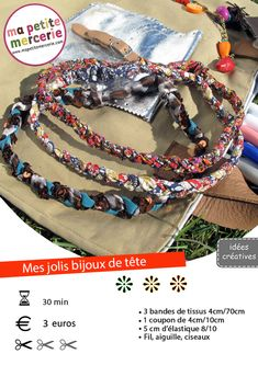headband tressé Diy Headband, Headbands, Head Jewelry, Diy Jewelry, Haberdashery, Leather Necklace, Diy Hairstyles, Hand Knitting, Hair Band