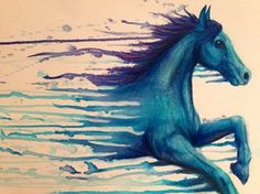 watercolor tattoo idea: Horse 2 by mariana-a...make one like this on my back w the others black and white and have paint splatters throughout