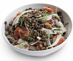 Lentil Salad with Fennel and Smoked Salmon by Fine Cooking Smoked Salmon Recipes, Spicy Recipes, Salad Recipes, Healthy Recipes, Healthy Dishes, Yummy Recipes, Salade Weight Watchers, Asian Seasoning, French Green Lentils