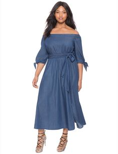 e5d2511196c Studio Off the Shoulder Chambray Dress