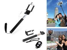"""Disfruta haciendo """"selfies"""" con el nuevo stick para poner tu móvil o cámara de fotos, incluye ademas un mando de disparador remoto. www.tusregalosdeempresa.com"""