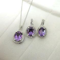 Sterling Silver Purple CZ & Diamond Halo Necklace & Earrings