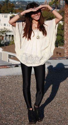 leggings + light blouse | fashion trends