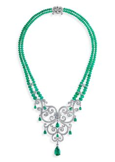 Fabergé, La Esmeralda necklace, part of the Les Danses Fantasques collection, 2013, featuring white diamonds suspended on a double chain of emerald cabochon beads and emerald drops
