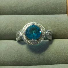 Round Blue CZ ring, size 6, sterling silver Blue Topaz CZ Ring, size 6, sterling silver Jewelry Rings