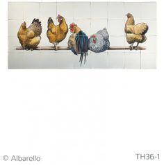 Witjes wandtegels beschilderd 5 kippen op stok. Witjes leverbaar in Verschillende kleurtinten | Kersbergen.nl