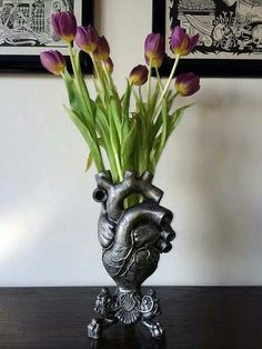 Anatomically Correct Heart Vase- Silver Finish