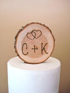 Rustic Wood Wedding Cake Topper Romantic Initials Simple Wood Burned