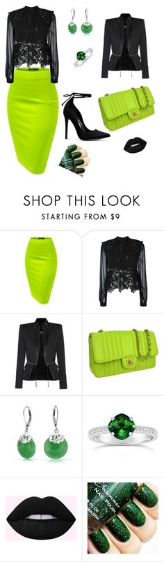 """Cool party!"" by mireille-a ❤ liked on Polyvore featuring self-portrait, Balmain, Chanel, Bling Jewelry, greenandblack, GreenSkirt and balmainjacket"