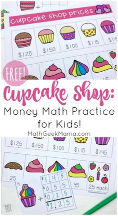 Help kids learn real life math skills with this adorable cupcake shop set. Kids will learn to add decimals as they work through these money math problems. They can then use the menu to create their own cupcake math problems! Math Worksheets, Math Resources, Math Activities, Math Games, Educational Activities, Teaching Math, Maths, Teaching Ideas, Teaching Money