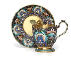 A Silver and Cloisonné Enamel Cup and Saucer Mark of the 11th Artel, Moscow, 1908-1917