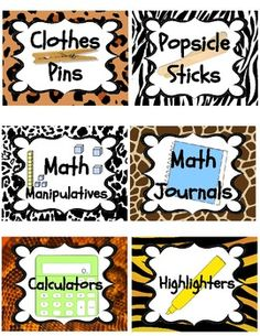 JUNGLE / SAFARI THEME CLASSROOM SUPPLIES LABELS (PENCILS, PAPER, SCISSORS, GLUE) - TeachersPayTeachers.com