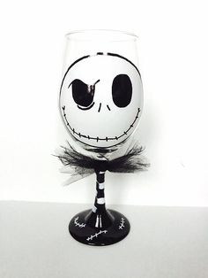 Jack Skellington The Pumpkin King Halloween Wine Glass, Nightmare Before Christmas Wine Glass by MakeItFierce on Etsy