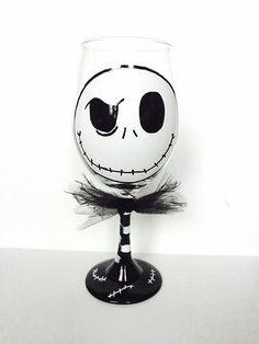 Jack Skellington The Pumpkin King Halloween Wine Glass, Nightmare Before Christmas Wine Glass by MakeItFierce on Etsy