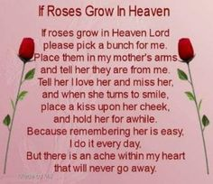 """Death of a loved one """" Especially your mother """" NEVER goes away ..my heart aches every day ..My mom passed away 6 yrs ago and up to this day ,, it seems like yesterday ..I love and miss you mom and i will see you some day ."""
