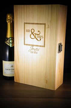 These Mr & Mrs 2 bottle wooden wine & champagne boxes make the perfect gift for weddings & anniversary Each box is laser etched with the family