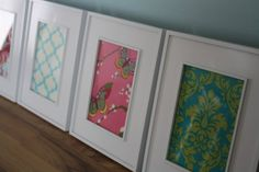 I am doing a version of this for Claire's room. I actually bought fabric! Now I just need more frames. Framing Fabric, New Living Room, Creative Ideas, Framed Art, Fun Facts, Frames, New Homes, House Ideas, Butterfly