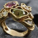 multi-gemstone ring and diamonds by jewellery designer Benoit Noury Gold Rings, Gemstone Rings, Diamonds, Jewelry Design, Rose Gold, Jewels, Gemstones, Jewellery, Floral