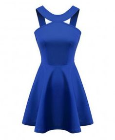 Solid Halter Neck Cutout Dress