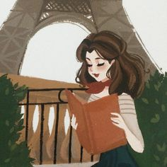 Belle original 5x6.5 gouache painting by Punziellas on Etsy