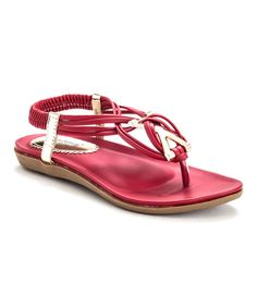 Look at this Henry Ferrera Red & Gold Strappy Zita Sandal on #zulily today!