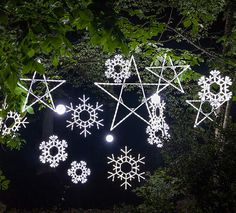 christmas decorating with lighted snowflakes