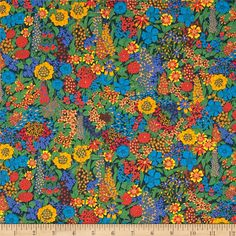From the world famous Liberty Of London, this exquisite cotton lawn fabric is finely woven, light weight and ultra soft. This gorgeous fabric is oh so perfect for flirty blouses, dresses, lingerie, tunics, tops and more. Colors include mango, orange, bright blue, bright green and red with a navy background.