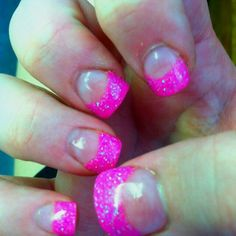 Hot pink sparkly nails