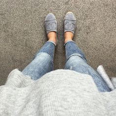 Eternally classicc tumblr. Jeans, grey sweater and grey Chanel espardilles…
