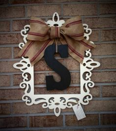 laser cut frame with monogram and burlap ribbon door or wall hanging - Wood Frames Michaels