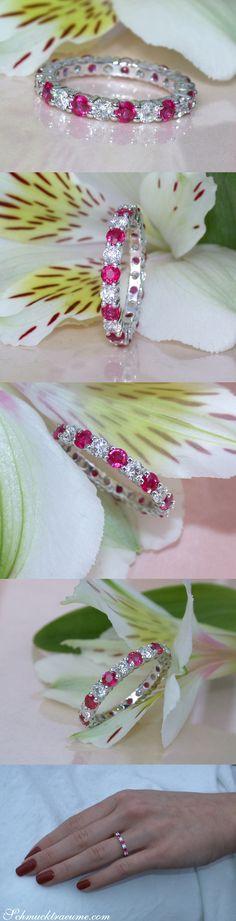 Precious Diamond Eternity Ring with Rubies - 2.12 ct. - Whitegold 18k | schmucktraeume.com | Facebook: https://www.facebook.com/Noble-Juwelen-150871984924926/