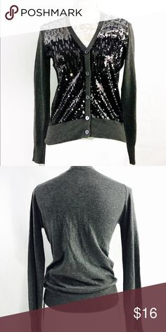 Gray Sequin Sweater Cardigan Shiny! Beautiful gray Cardigan with sequins in the front. Skinny jeans, a white shirt and gray booties would look great with this cardigan. NWOT DKNY Sweaters Cardigans