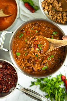 Make this quick and easy chili with leftovers, and feel free to modify it completely. Chili is the perfect customizable food.  #chili #chilibowl #bowlofchili #easychili #quickchili Tomato Sauce Recipe, Sauce Recipes, Cooking Recipes, Healthy Recipes, Chili Recipes, Healthy Meals, Healthy Food, Frugal Meals, Easy Meals