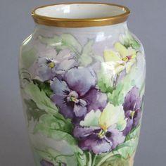 Antique Hand Painted Limoges Porcelain Vase PANSIES w GILT Trim * KIMMEL c1900