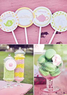 Girly Pink and Yellow Tea Party   The Hostess Blog #hwtm    party ideas and inspiration  www.sweeteventdesign.com