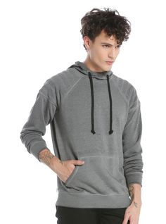 A simple layering piece is key going into fall. This charcoal grey hoodie is the perfect basic to wear as a top layer or to wear under a light jacket as a mid-layer. It has quilted shoulder panels, a kangaroo pocket and a contrasting black drawstring.     60% cotton; 40% polyester  Wash cold; dry low  Imported  Listed in men's sizes