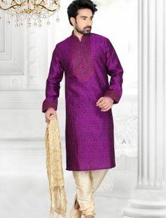 Gratifying Purple Jacquard Art Silk Wedding Wear Kurta Pajama