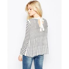 Vila Long Sleeve Striped Jumper ($39) ❤ liked on Polyvore featuring tops, sweaters, white, white jumper, striped long sleeve top, white top, white long sleeve sweater and stripe top