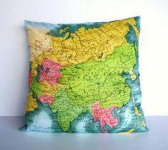 ASIA  vintage map organic cotton cushion map by mybeardedpigeon, $55.00 #cartography #cushion #maps